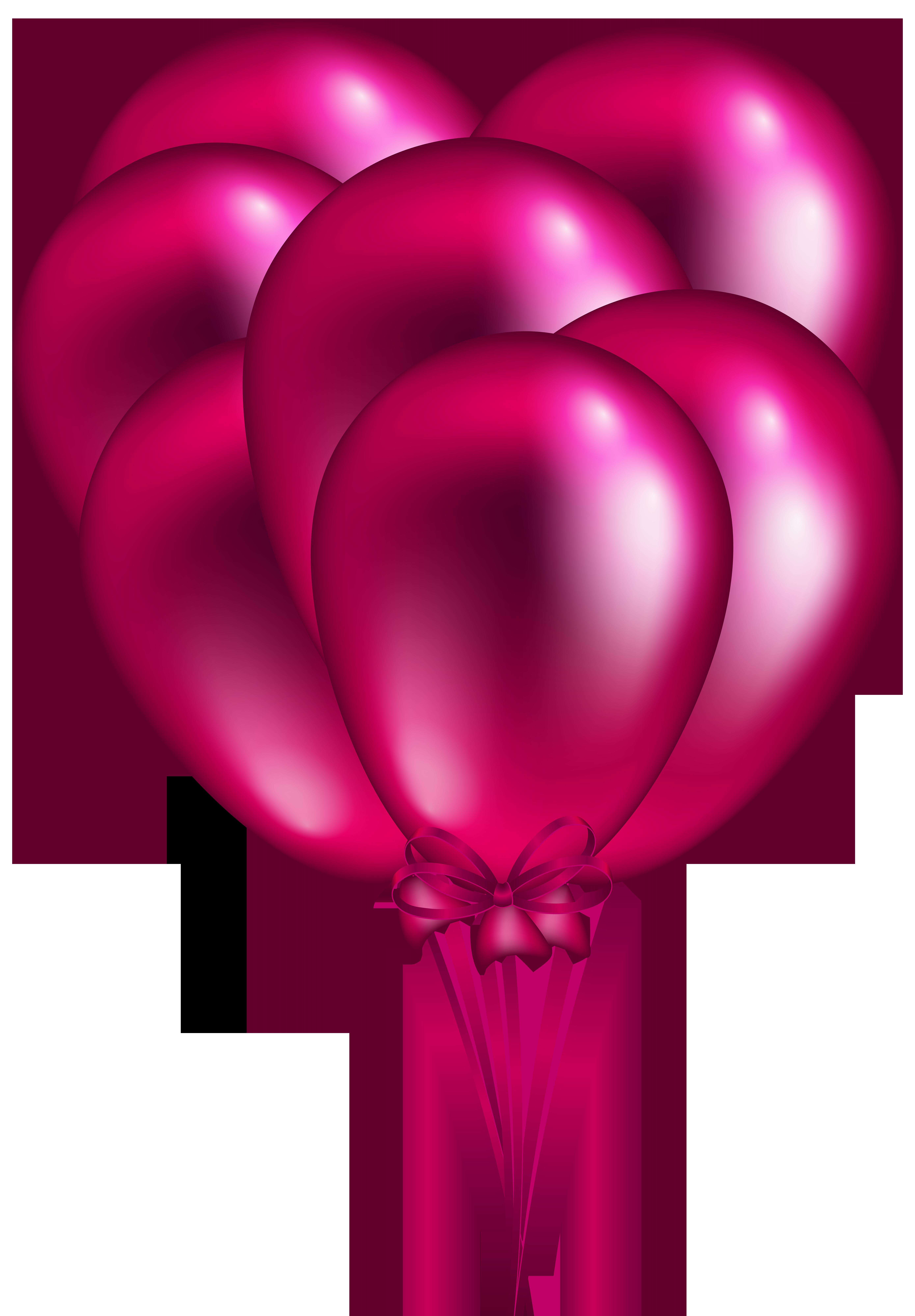 5558x8000 Pink Balloon Bunch PNG Clip Art