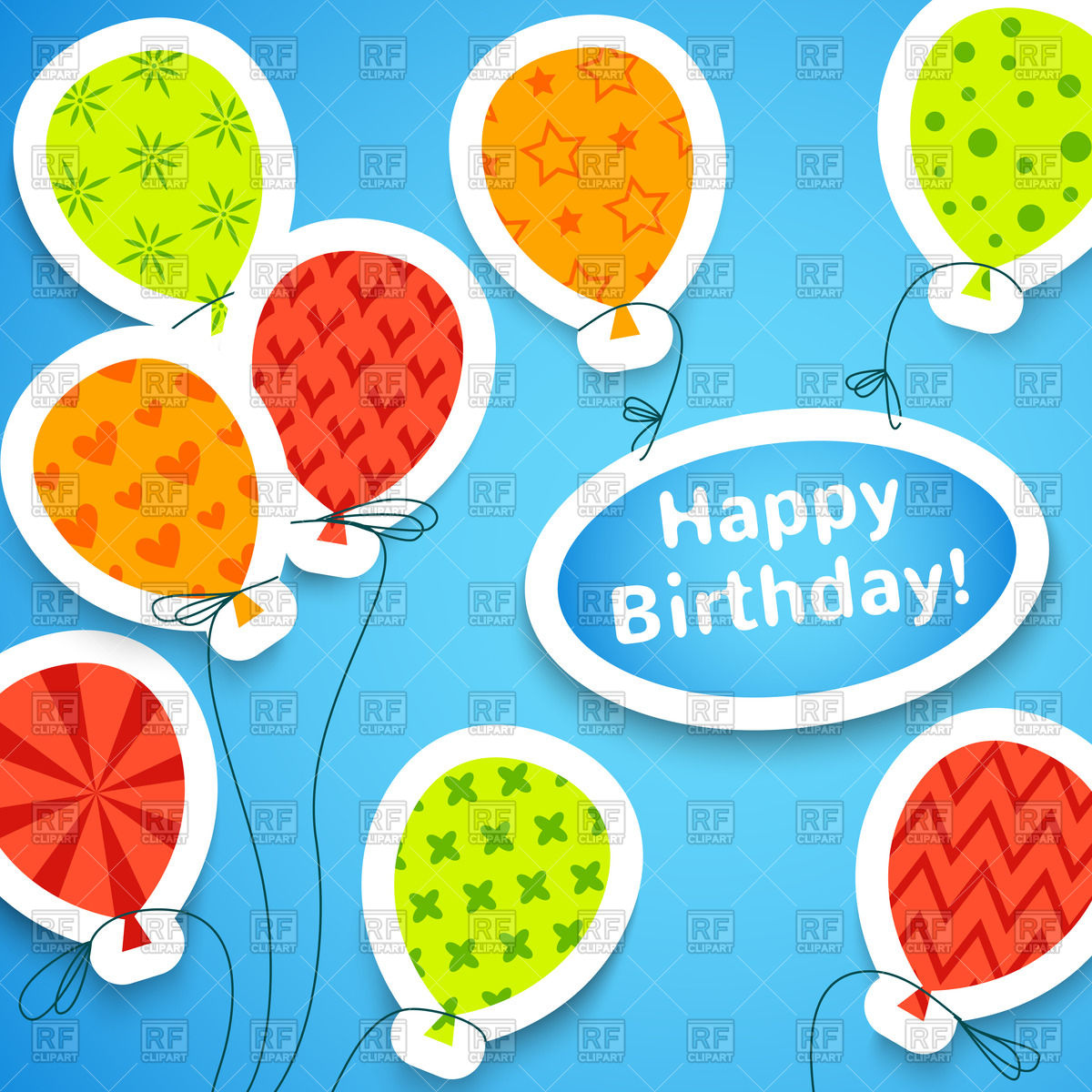1200x1200 Birthday colorful applique background with balloons Royalty Free