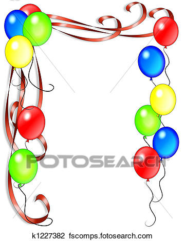 360x470 Clip Art of Birthday Balloons and Ribbons k1227382