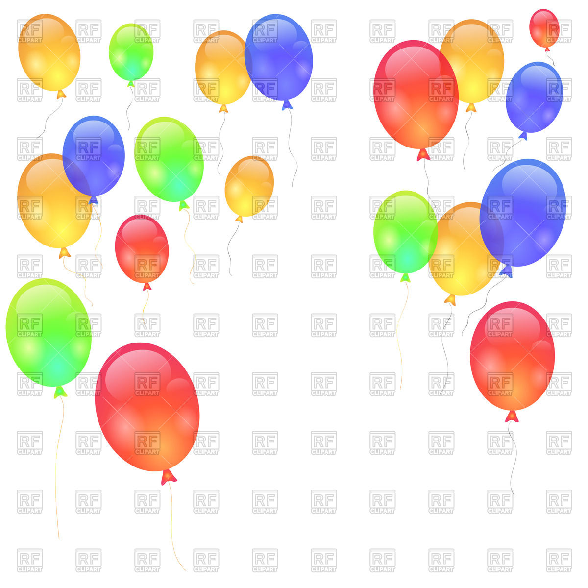 1200x1200 Colorful balloons isolated on white background Royalty Free Vector