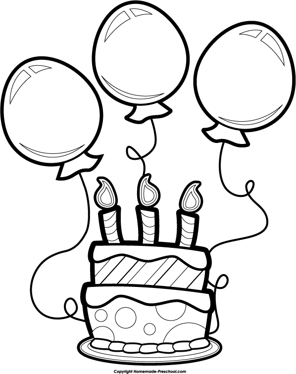 598x756 Black And White Birthday Balloon Clipart