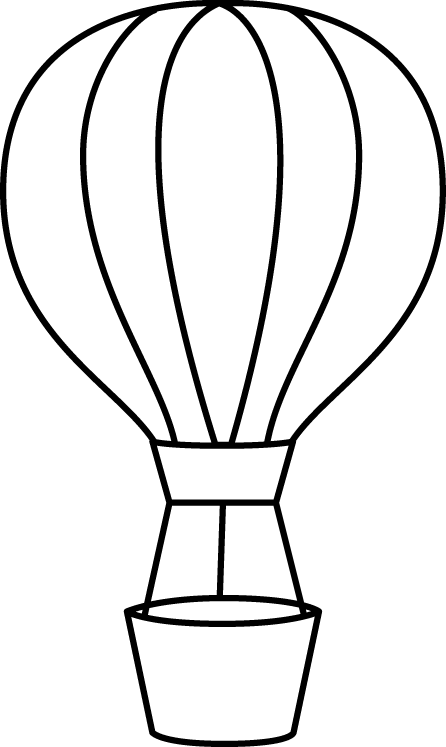 446x747 Black And White Hot Air Balloon Clip Art
