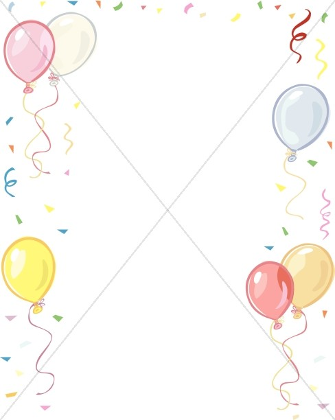 488x612 Balloons and Confetti Border Church Birthday Clipart