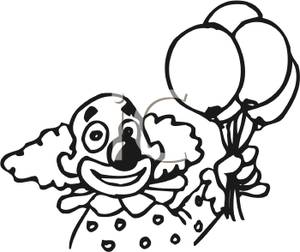 300x252 And White Clown With Balloons Clipart Image