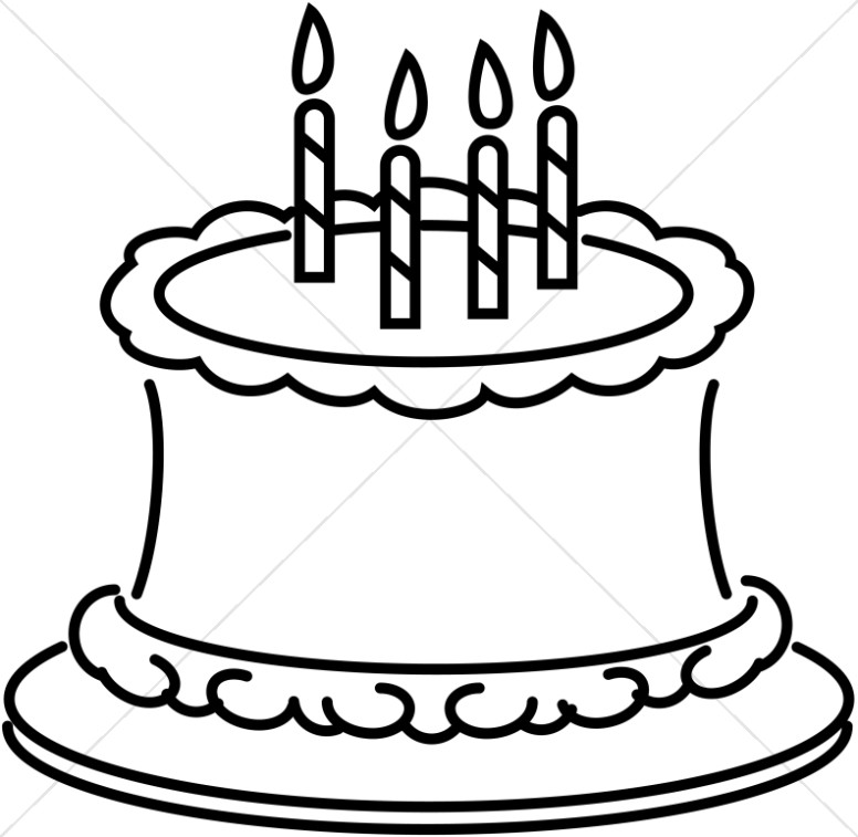 776x757 Birthday Cake Black And White Clipart Collection