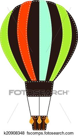 271x470 Clip Art of Vintage or retro hot air balloon on transparent