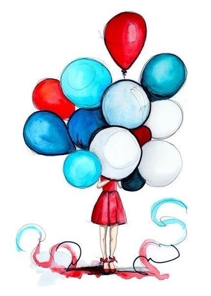 431x604 Drawing girl hiding behind balloons A r t