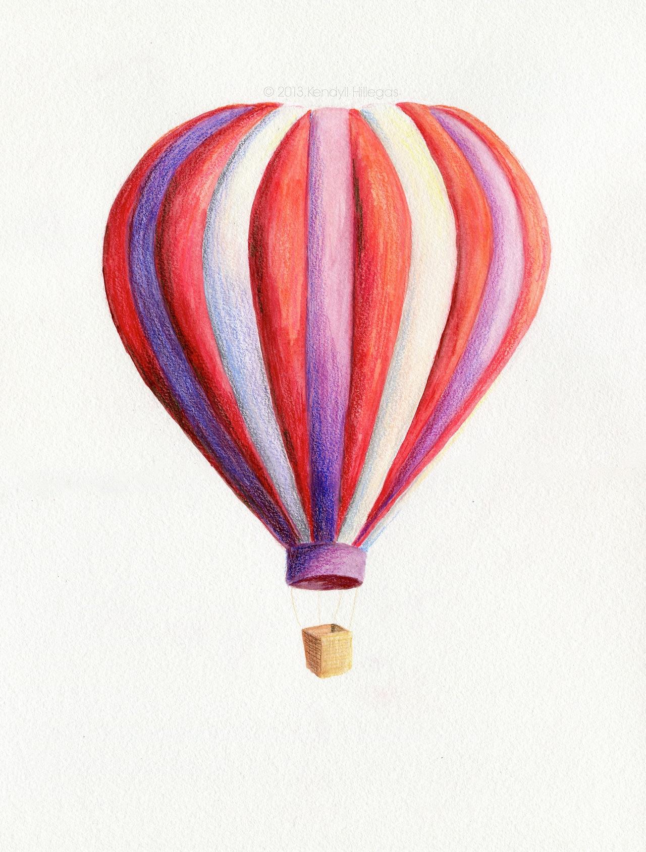 1280x1690 Drawn hot air balloon drawing
