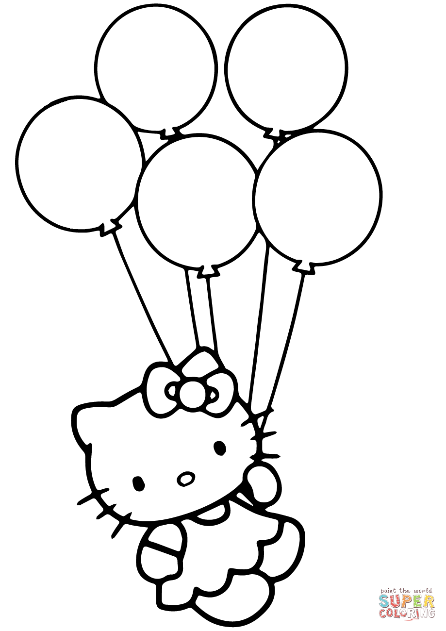 919x1300 Hello Kitty with Balloons coloring page Free Printable Coloring