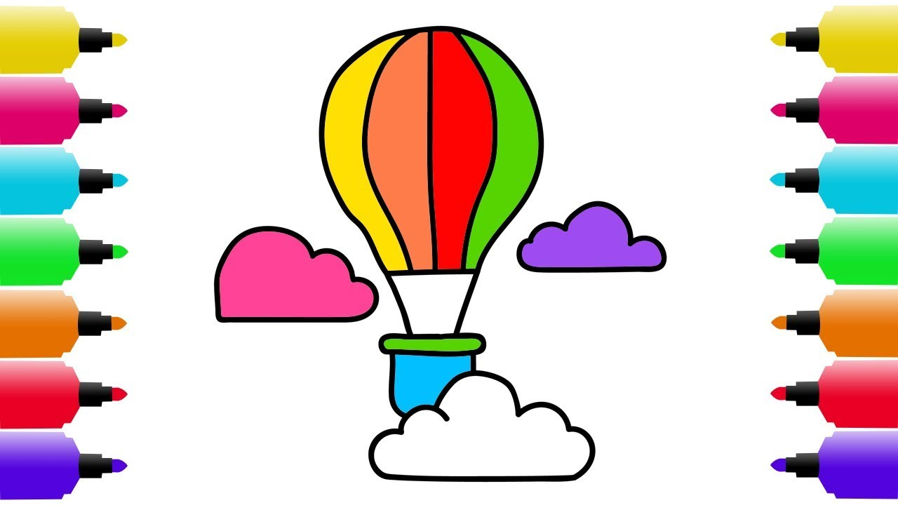 1280x720 How to Draw Colorful Hot Air Balloon Coloring Videos and Teach