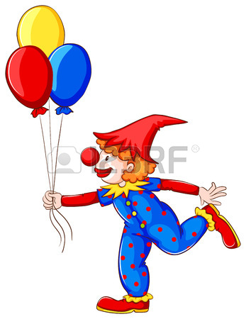 347x450 A Coloured Drawing Of A Clown With Balloons On A White Background