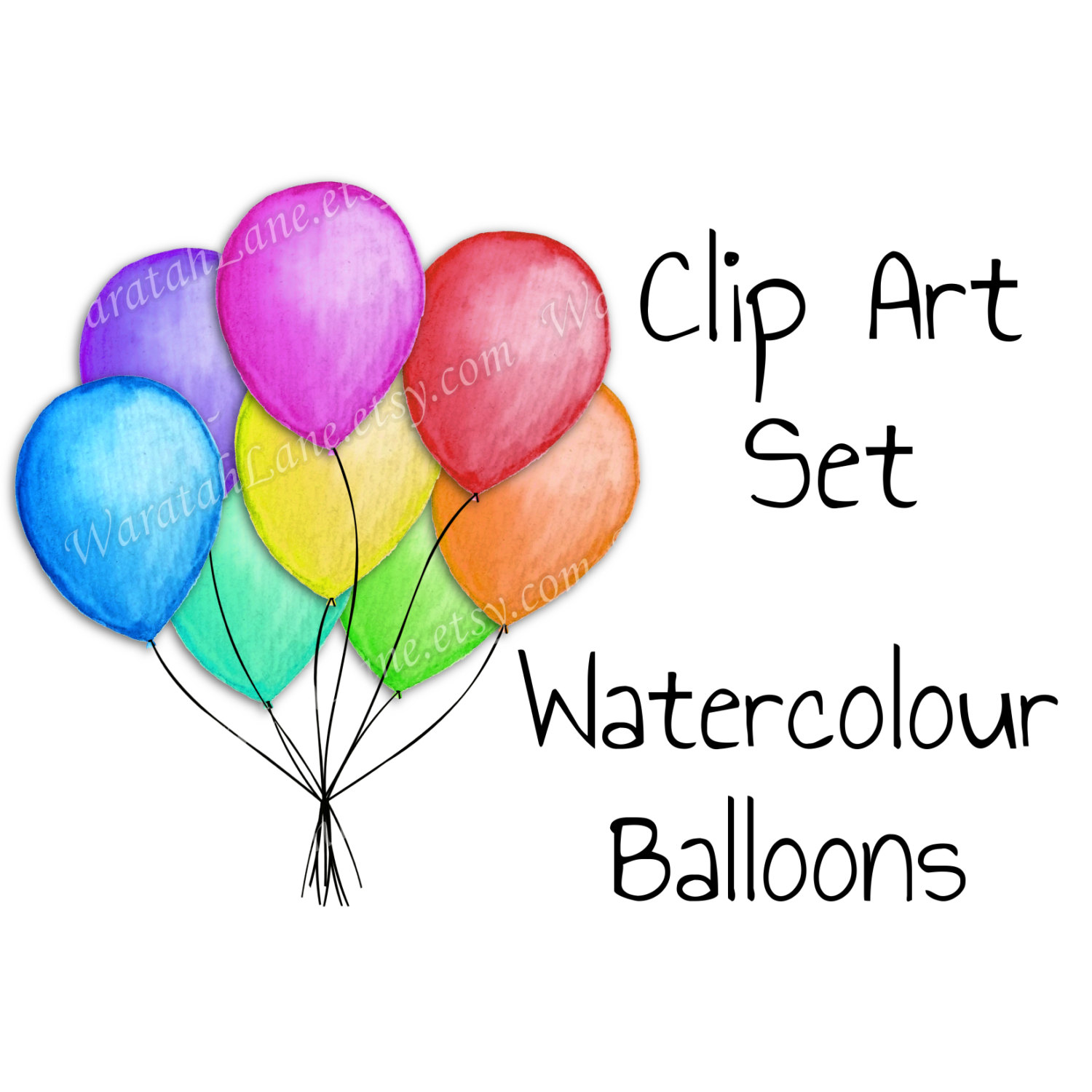 1500x1500 Balloons Clip Art Watercolor Clipart Set Birthday Clip Art party