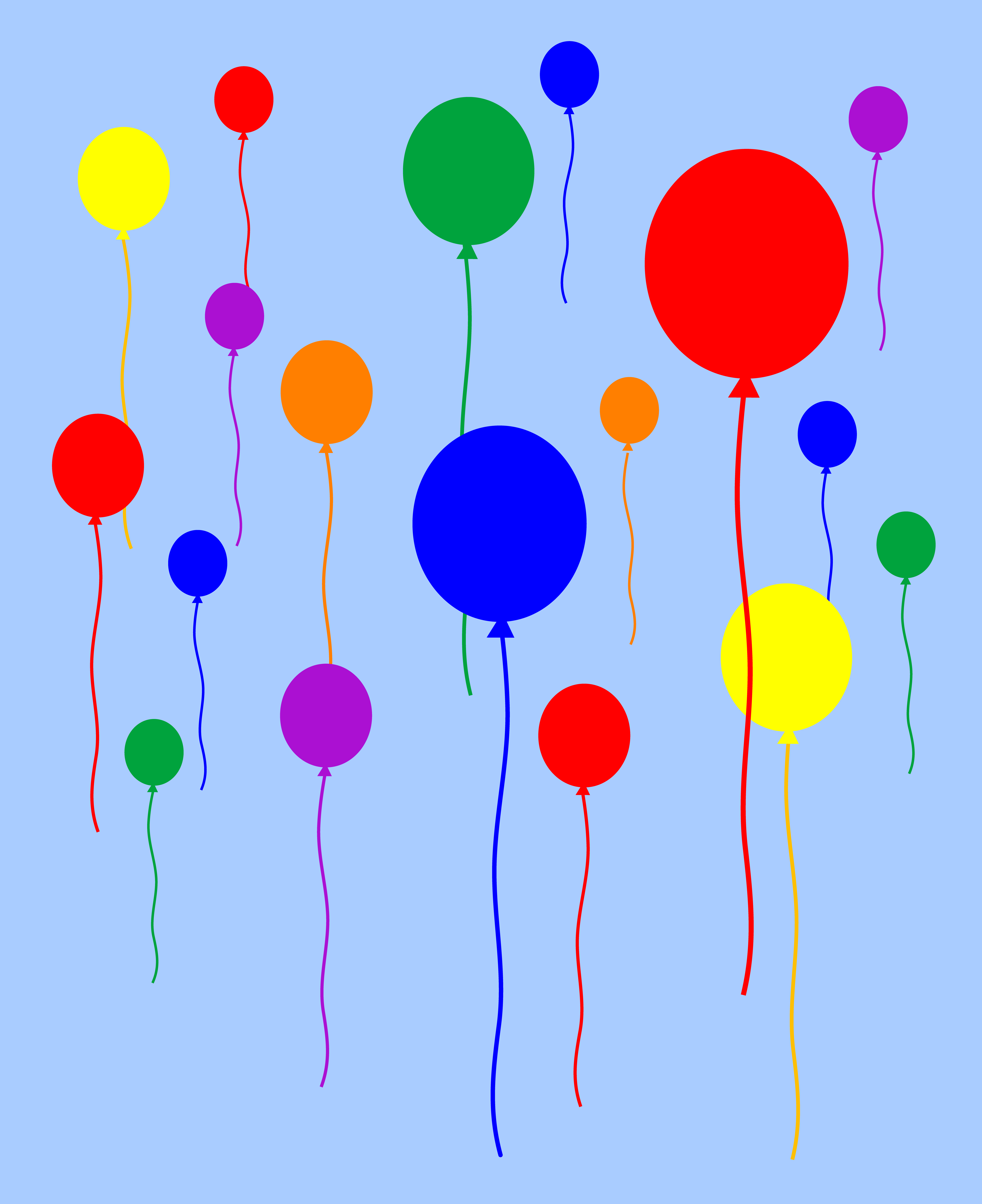 6499x7966 Rainbow Balloons Flying in Sky