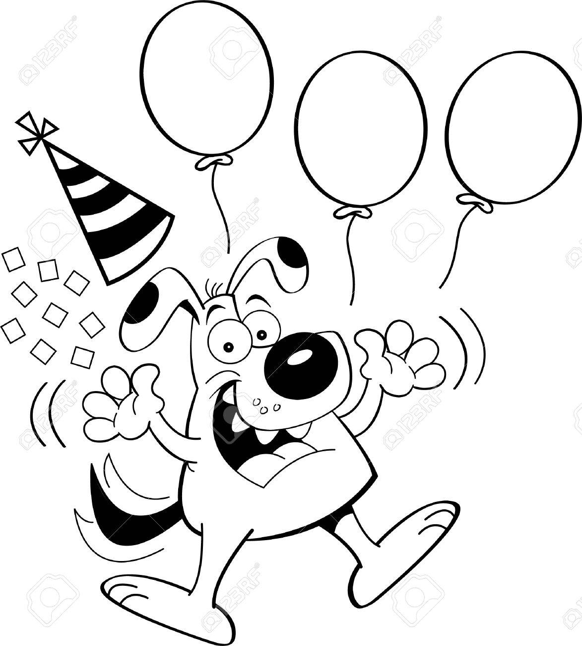 1173x1300 Black White Illustration Of A Dog Jumping With Balloons