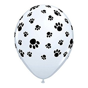 355x355 12 White Balloons With Black Paw Prints