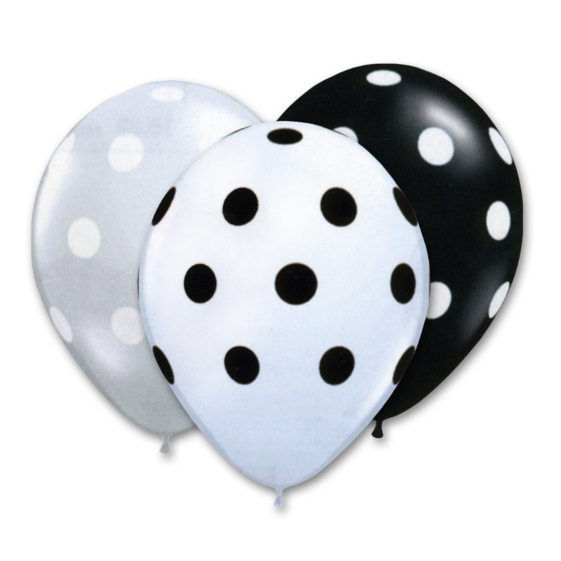 800x800 Black And White Polka Dots Assorted Colors 12 Inch Latex Balloons