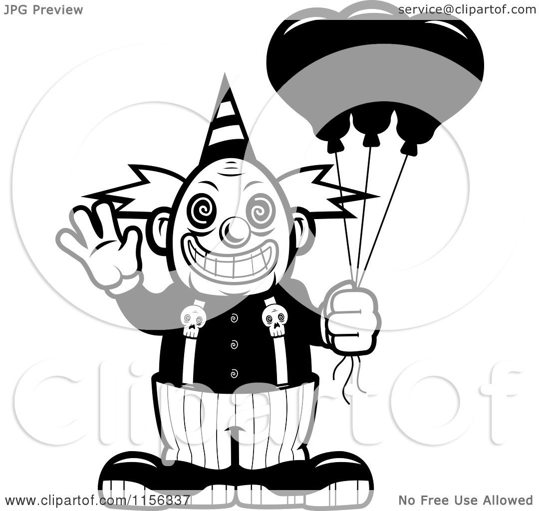 1080x1024 Cartoon Clipart Of A Black White Scary Clown Waving