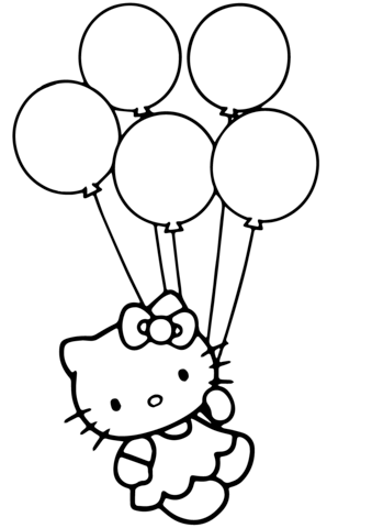 339x480 Hello Kitty With Balloons Coloring Page Free Printable Coloring