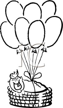 204x350 Royalty Free Clipart Image New Baby In A Basket With Balloons