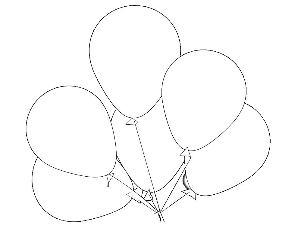 999x749 Clip Art Balloons Black White Line Art Svg