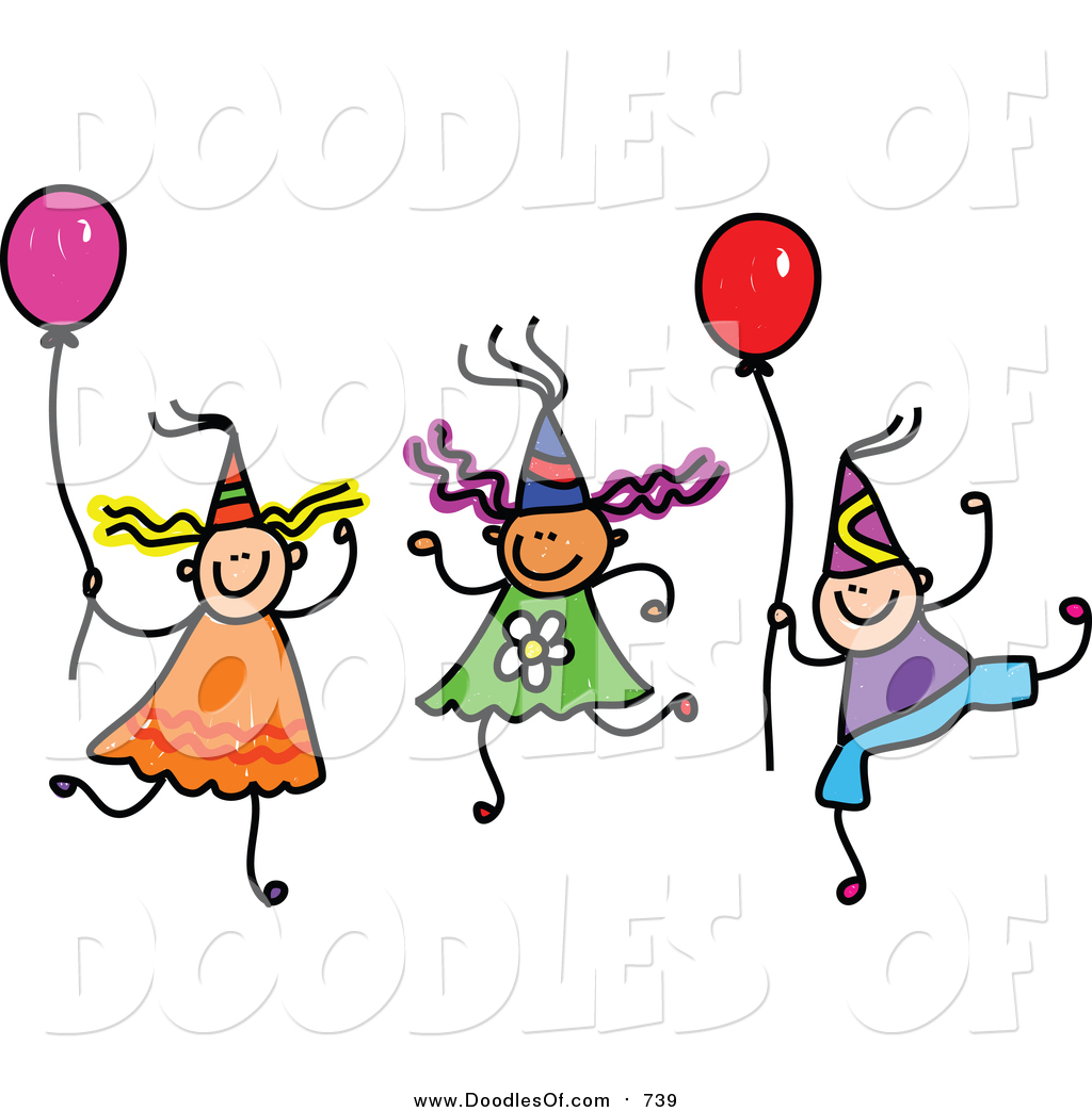 1024x1044 Vector Clipart Of A Doodle Of Children Wearing Party Hats