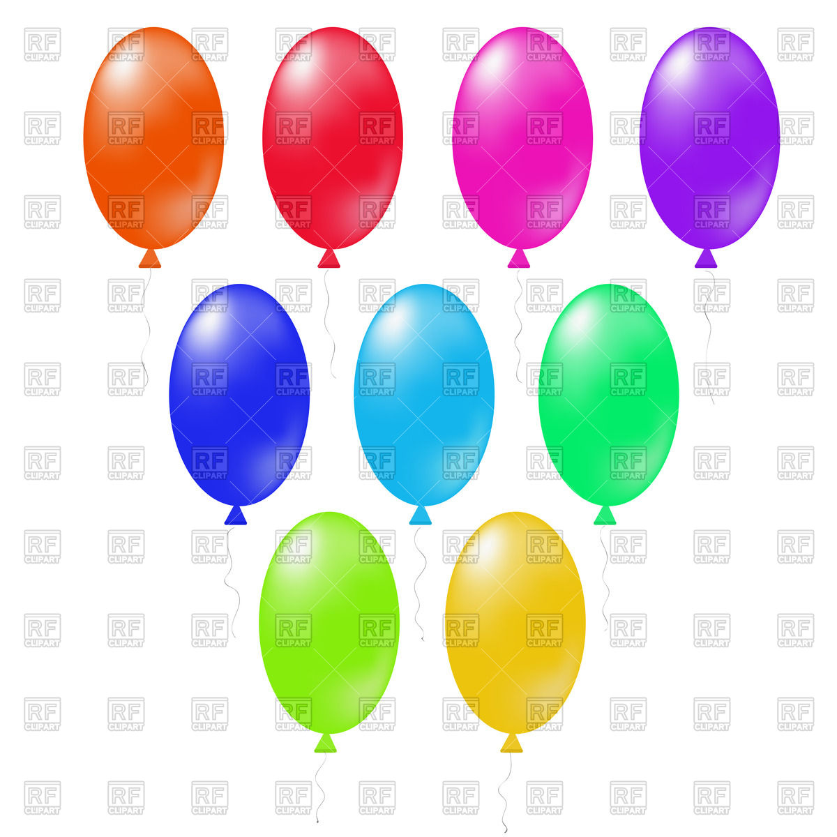 1200x1200 Oval Colored Balloons Royalty Free Vector Clip Art Image