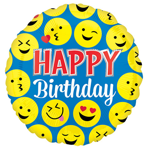 480x480 Bulk Happy Birthday Smiley Faces Foil Balloons, 18 In.