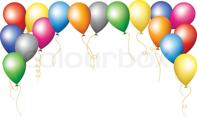 800x475 Golden And Colorful Frame With Balloons Bunches, Isolated On White