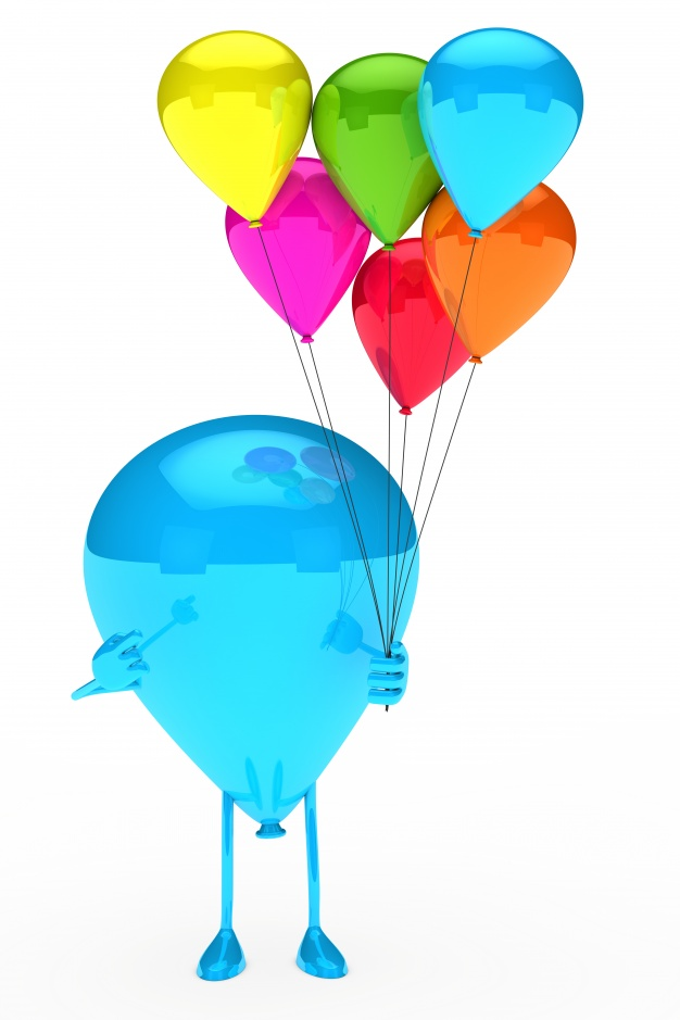 626x939 Blue Balloon Holding Colorful Balloons Photo Free Download