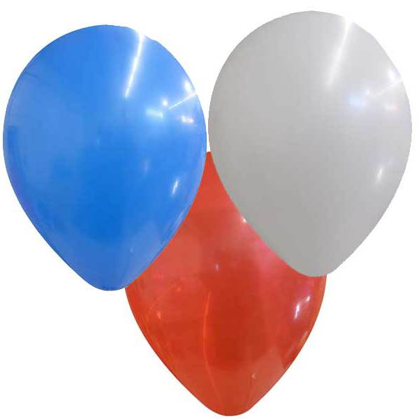 600x600 50 X 9 Inch Mixed Red, White And Blue Latex Balloons