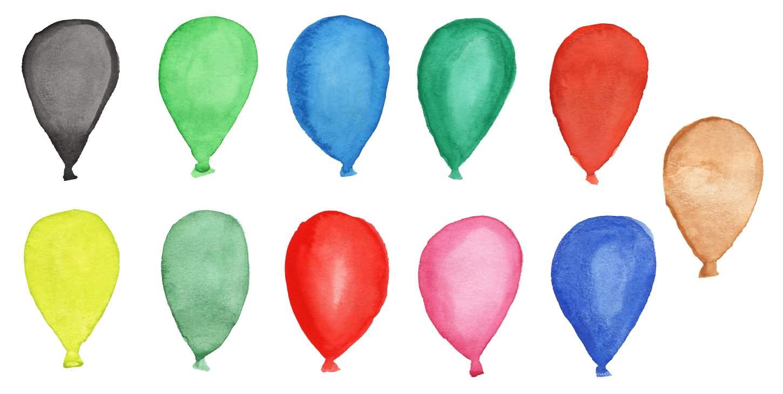 1450x730 11 Watercolor Balloons (Png Transparent) Vol. 2
