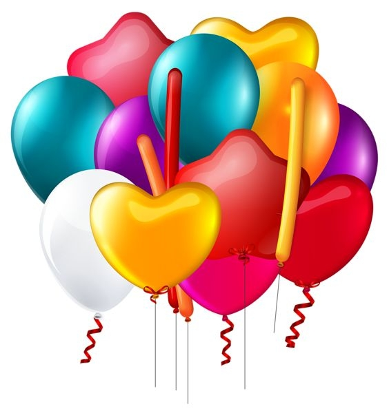 564x600 Birthday Balloons Clipart Transparent Background