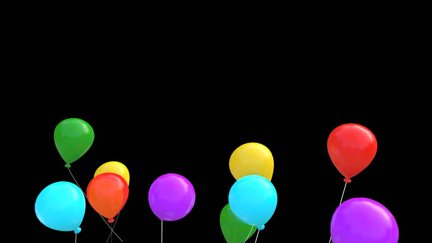 852x480 Colorful Balloons With Transparent Background. Stock Footage Video
