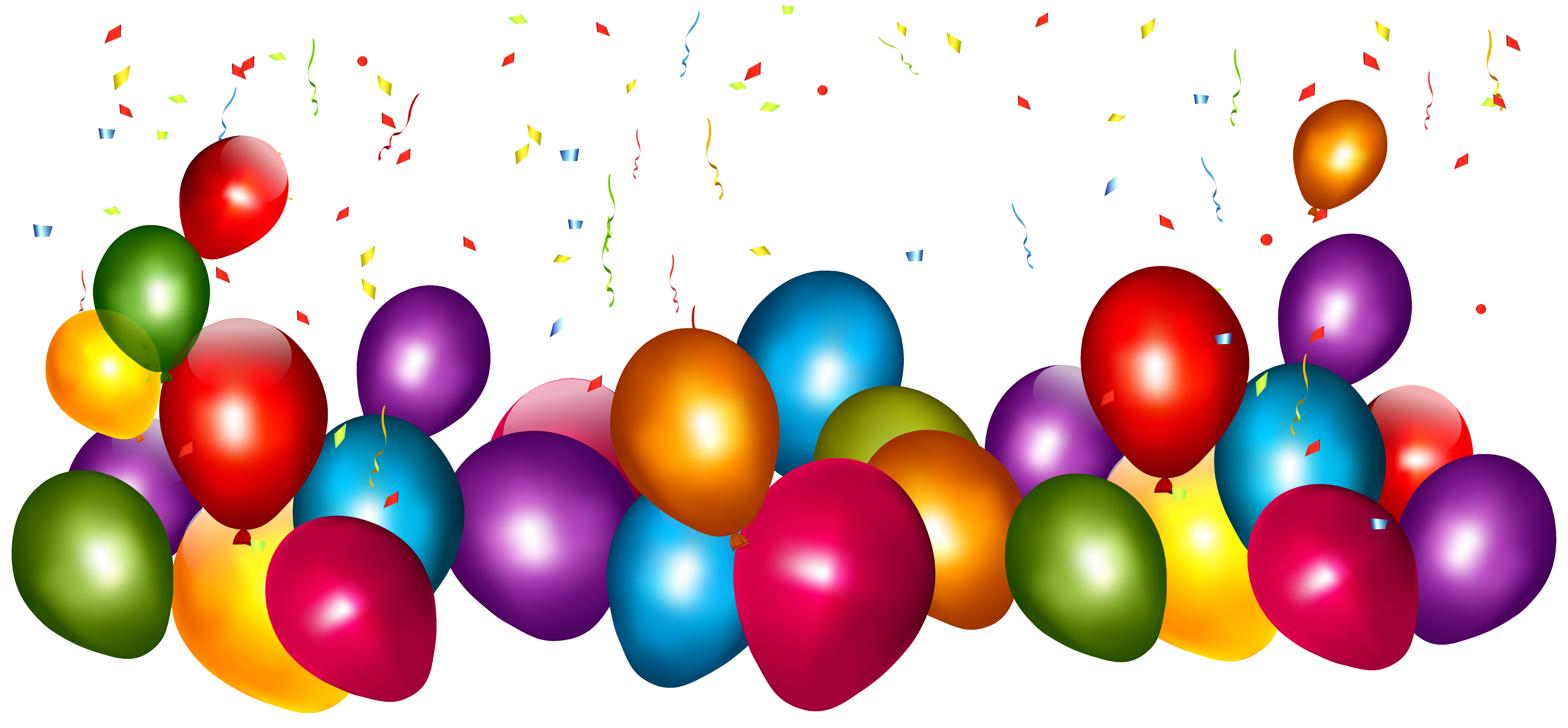 6189x2873 Transparent Colorful Balloons With Confetti Png Clipart Picture