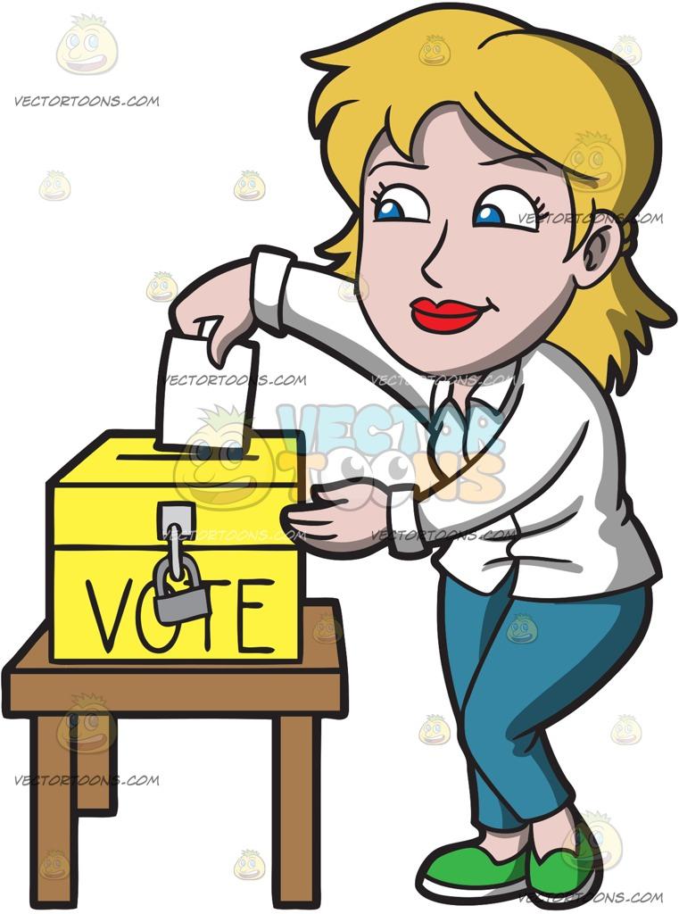 761x1024 A Woman Carefully Drops Her Ballot In The Ballot Box Cartoon