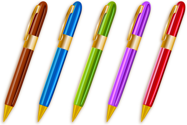 600x403 Colorful Ballpoint Pens Set Free Vector In Adobe Illustrator Ai