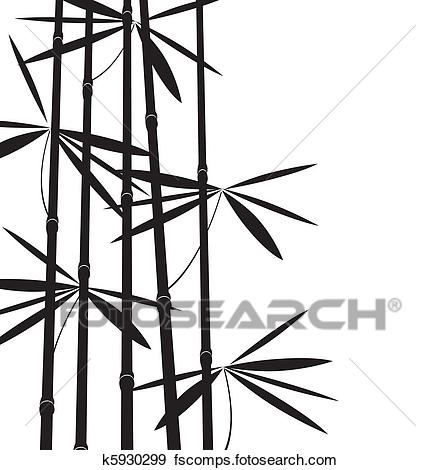 440x470 Clip Art Of Black And White Bamboo K5930299