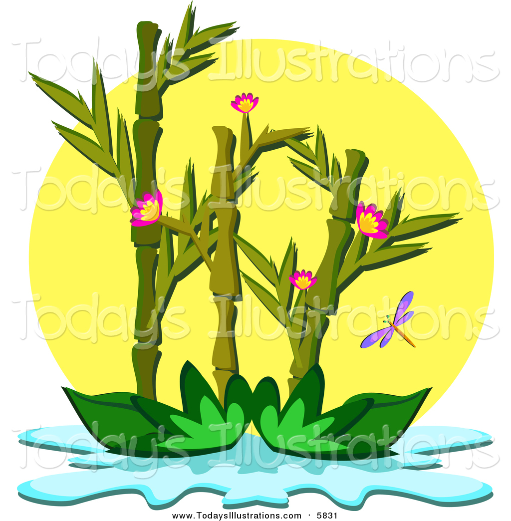 1024x1044 Clipart Of A Bamboo Plant On A Pond By Bpearth