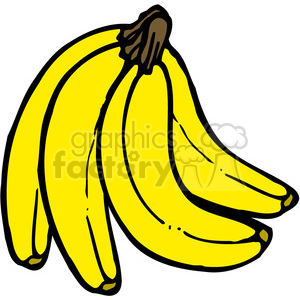 300x300 Royalty Free Yellow Banana 3 Bunch 387554 vector clip art image