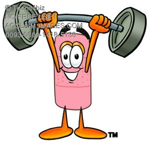 300x287 Illustration Of A Bandaid Cartoon Character Lifting Weights
