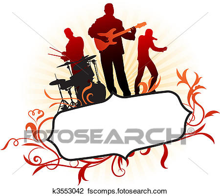 450x401 Clipart Of Musical Band On Abstract Tropical Frame Background