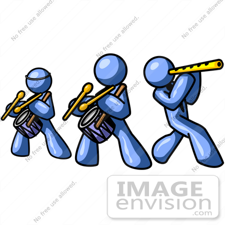 450x450 Clip Art Graphic Of Blue Guy Characters Playing Drums And Flutes