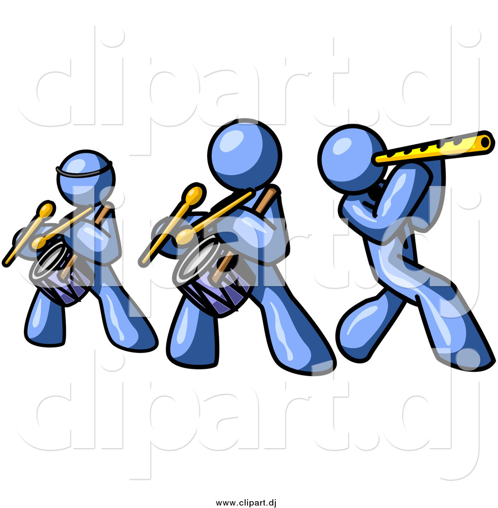 1024x1044 Vector Clipart Of Blue Men Playing Flutes And Drums By Leo