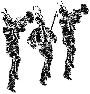 380x400 Band Silhouette Clip Art