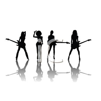 350x350 Rock Band Silhouette Clipart