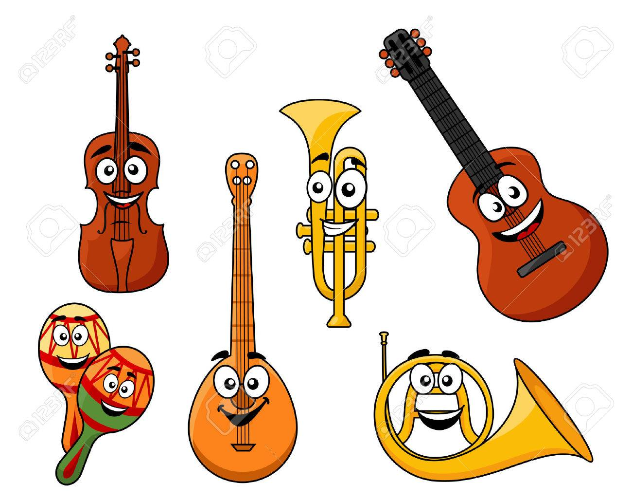 1300x1029 Set Of Musical Instruments With Smiling Happy Faces Including
