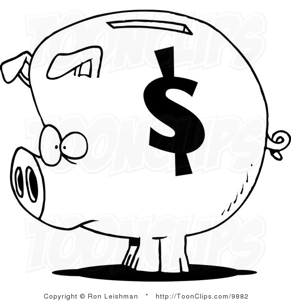 600x620 Piggy Bank Black And White Clipart