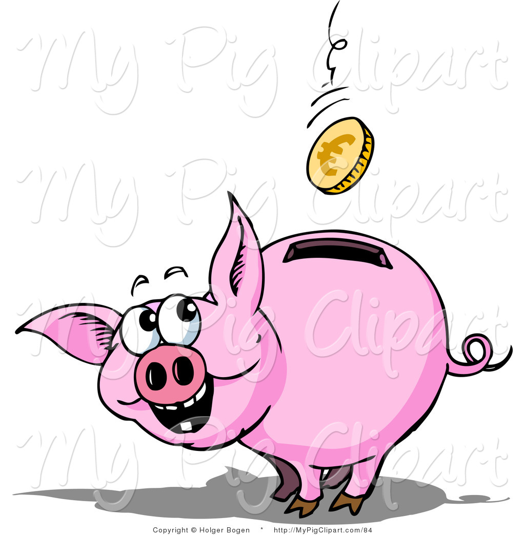 1024x1044 Swine Clipart Of An Excited Piggy Bank Watching A Euro Coin Fall