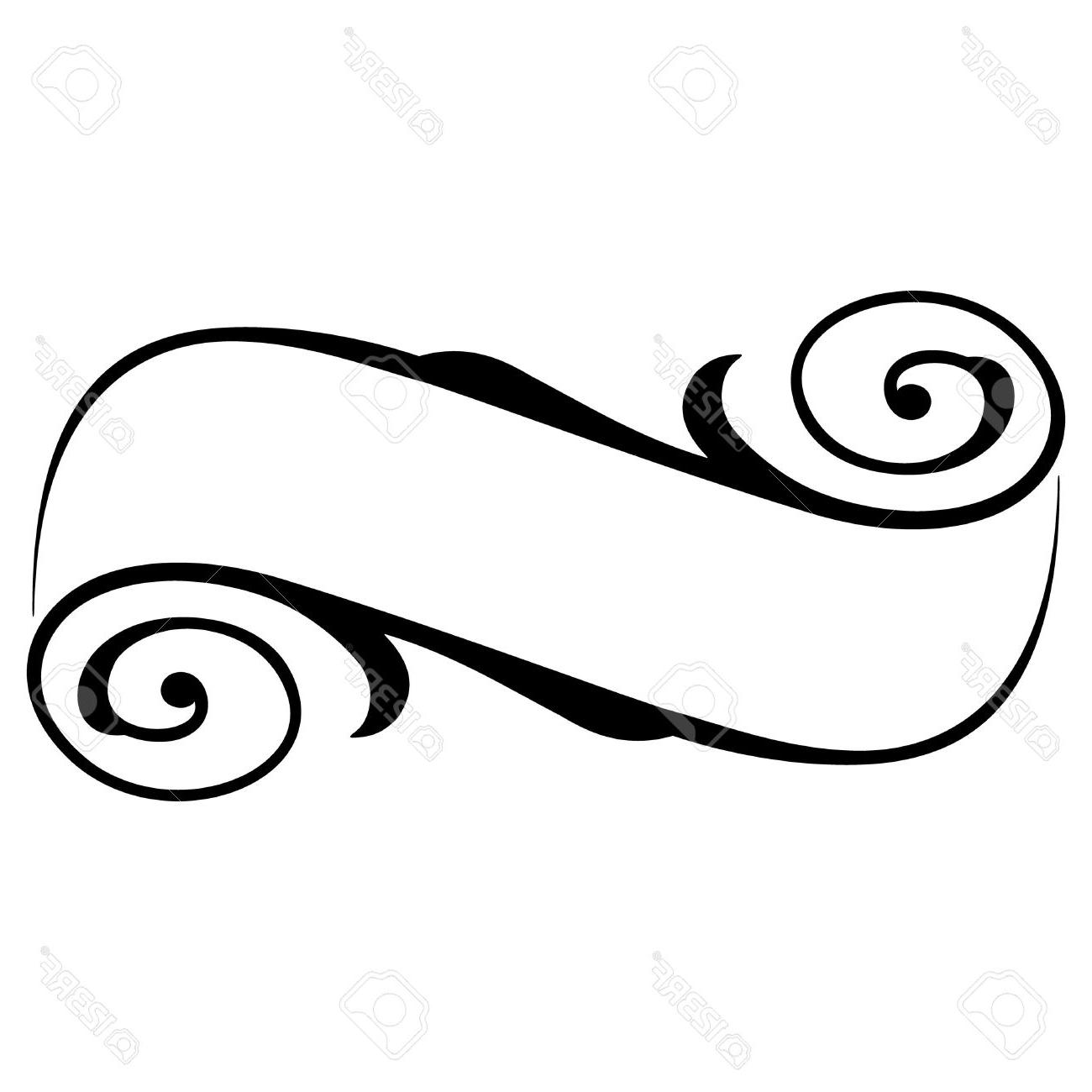 1300x1300 Unique Calligraphy Ribbon Black And White Banner Clipart Vector
