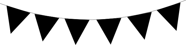 600x146 White Clipart Pennant Banner